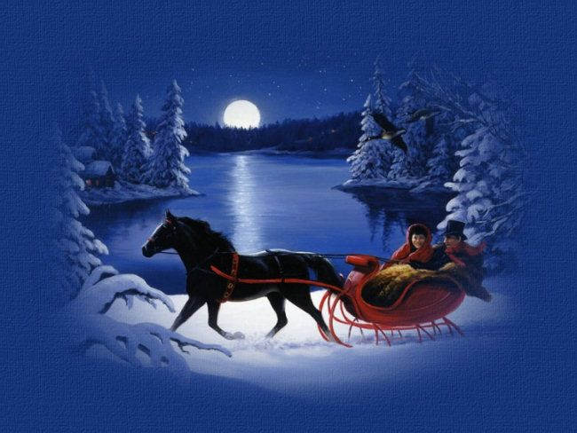Old-Fashioned Winter Christmas Scenes | Moonlight Sleigh Ride ...