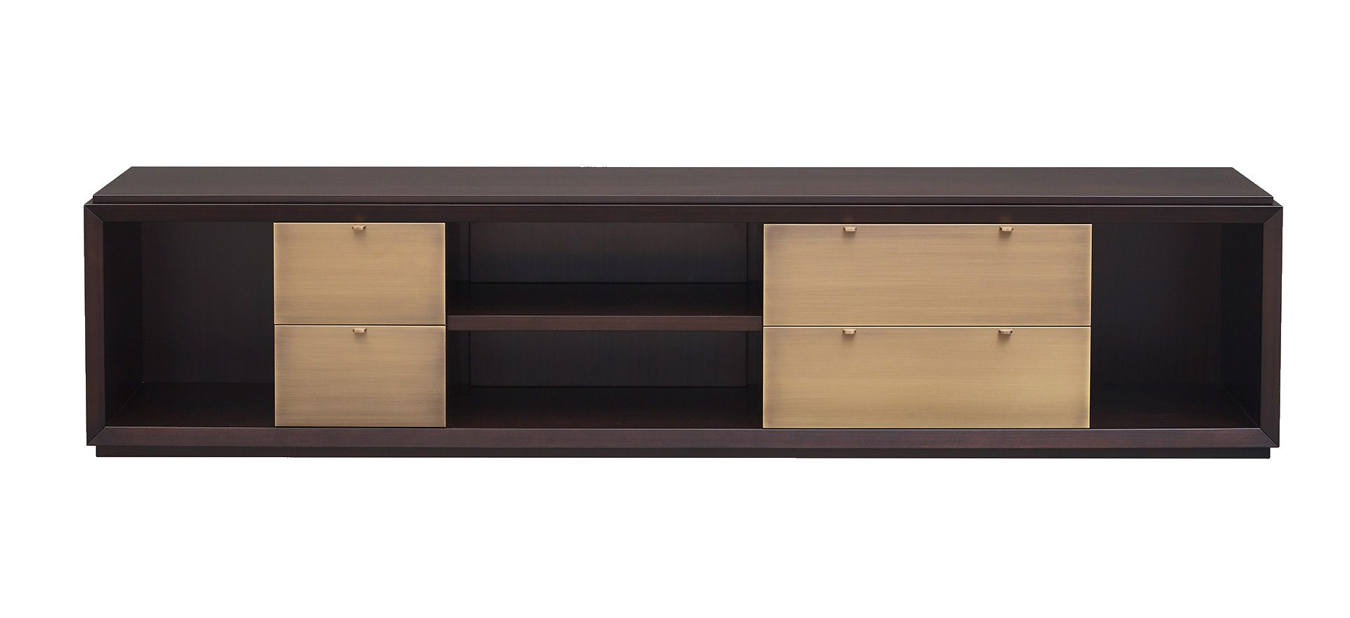 Nightwood Is A Wooden Low Cabinet With Drawers With Bronze Details And Leather Placemats From Promemoria S Amaranth Low Cabinet House And Home Magazine Cabinet