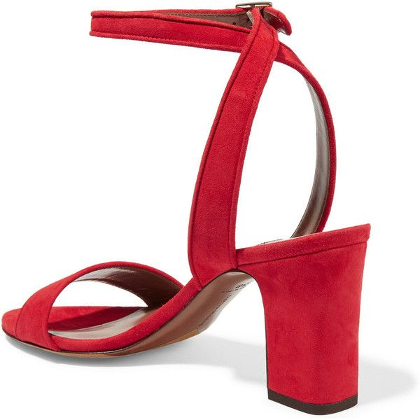 Tabitha Simmons Leticia suede sandals ($570) ❤ liked on Polyvore featuring  shoes, sandals, ankle strap high heel sandals, red ankle st…   Strappy high  heels sandals
