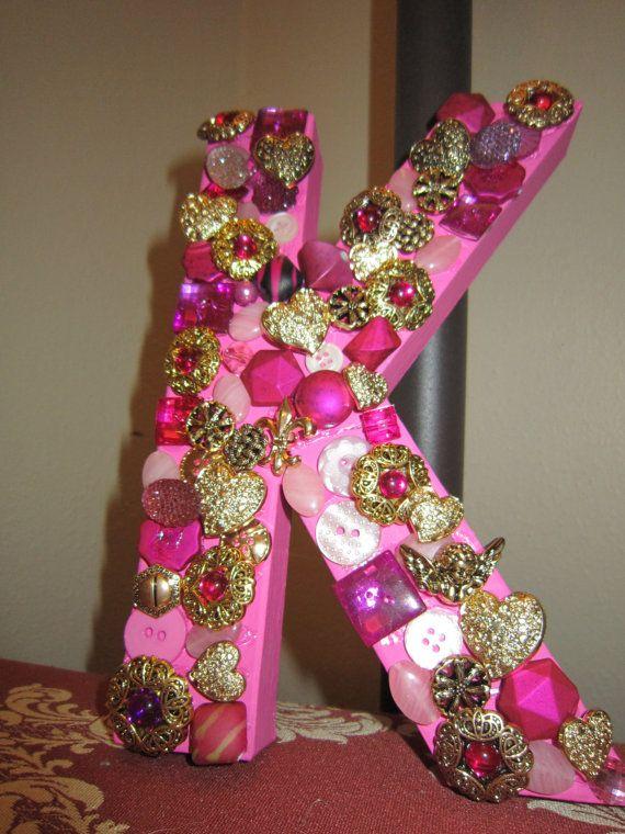 Pink Embellished K by TheKatsMeowGifts on Etsy, $15.00