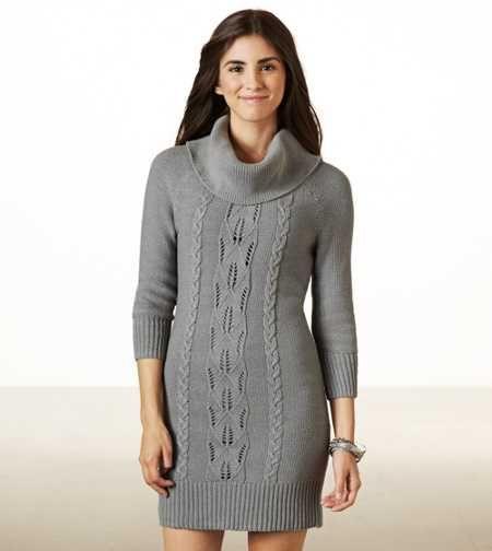 Vestido Tipo Suéter Con Cuello Grande Ae Ropa Vestidos Y