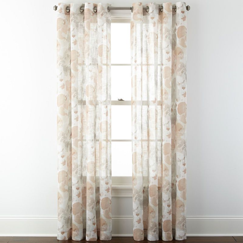 Jcpenney Home Corina Grommet Top Sheer Panel Sheer Curtain