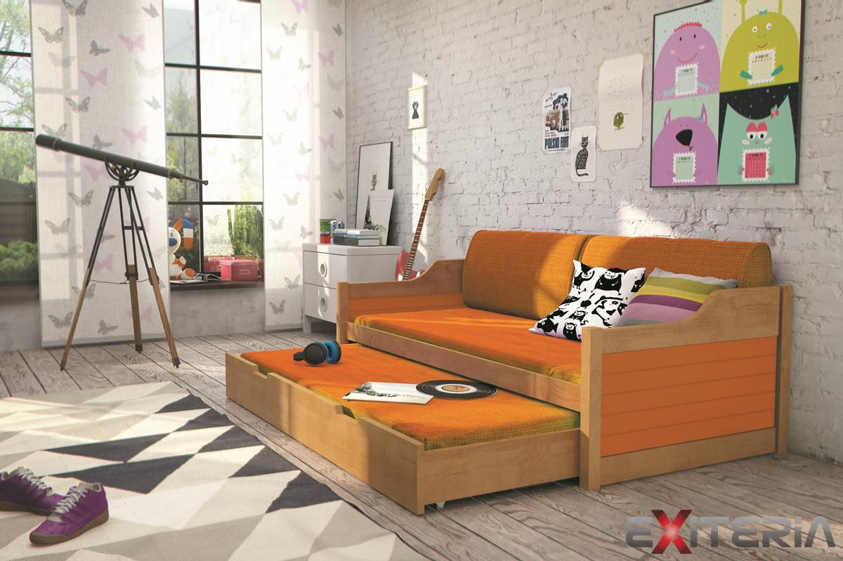 e127c154b0967 Veselá detská posteľ Tiera 3 s prístelkou z masívu | Detské postele ...
