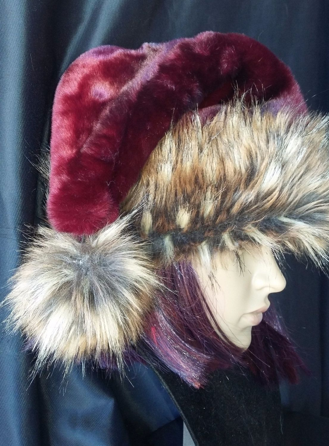 8546537fb0 Limited Edition rich burgundy Santa hat with brown wolf f aux fur trim by  OriginalsByEva on Etsy