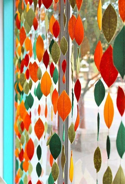 Pode ser folhinhas de feltro Ideias e Inspirações Cortinas de colores, Cortinas artesanales  -> Decoração Festa Folhas De Outono