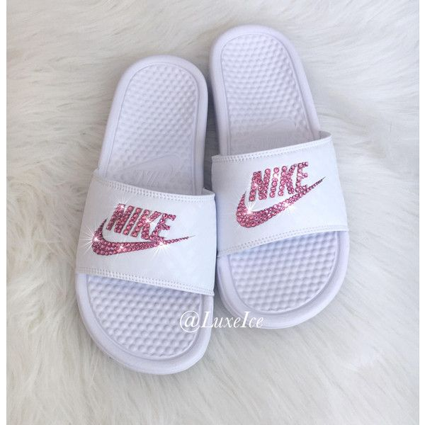 a64ffee85 Nike Benassi Jdi Slides Flip Flops Customized With Rose Pink Swarovski...  ( 85) ❤ liked on Polyvore featuring shoes