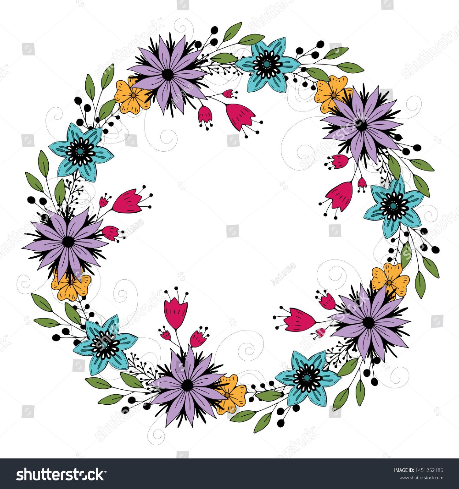 Photo of cute flower wreath. vector illustration. #Ad, #Sponsored, # flower # cute # wreath # i …