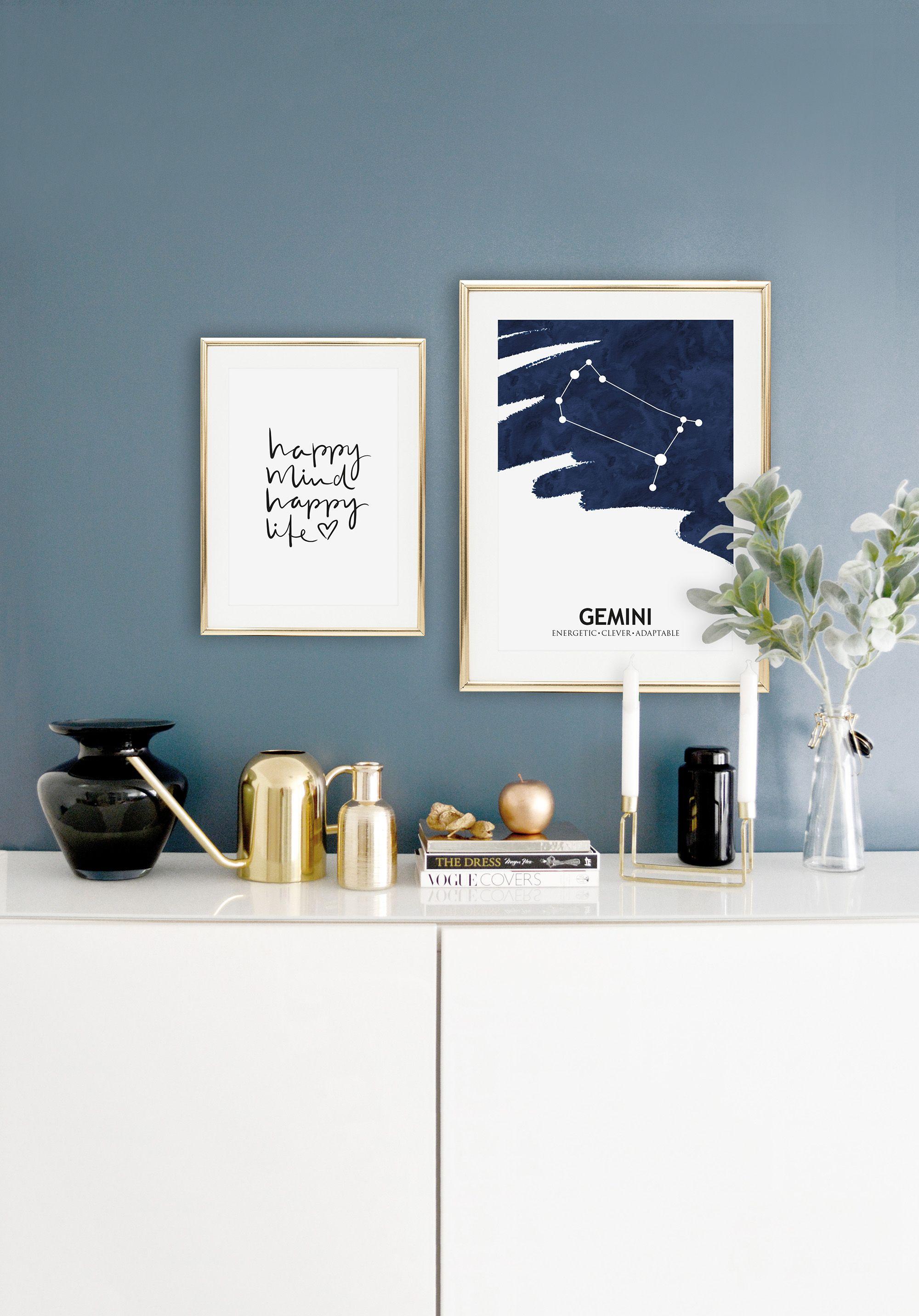 Scandinavian Art Print   Handlettering   Art Gallery   Wall Art   Quotes   Happy mind happy life   Postershop   Tales by Jen   www.talesbyjen.com
