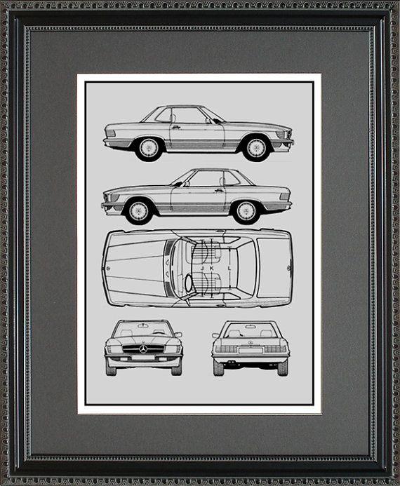 Mercedes Benz Blueprint Framed Art Car Auto Gift Choose Your ...