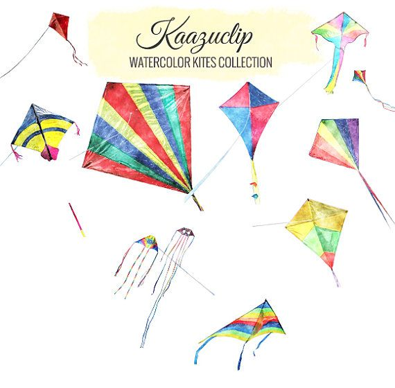 Watercolor Kites Collection Commercial And Personal By Kaazuclip