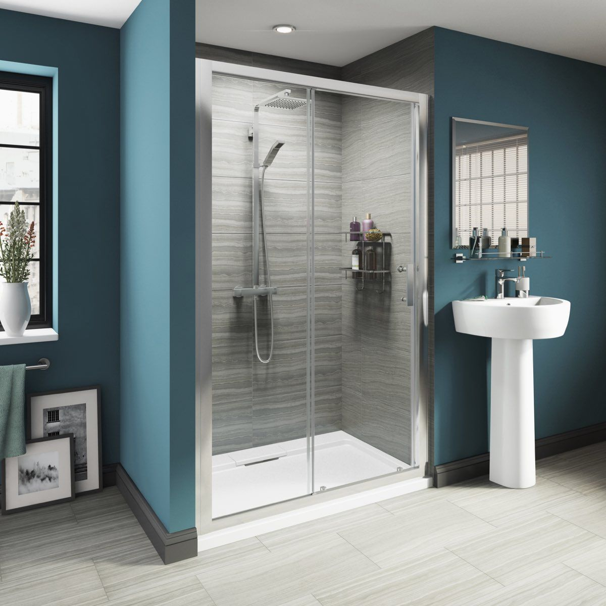 The Victoria Plumb luxury Sliding Door really highlights the available showering space with its clear & The Victoria Plumb luxury Sliding Door really highlights the ...