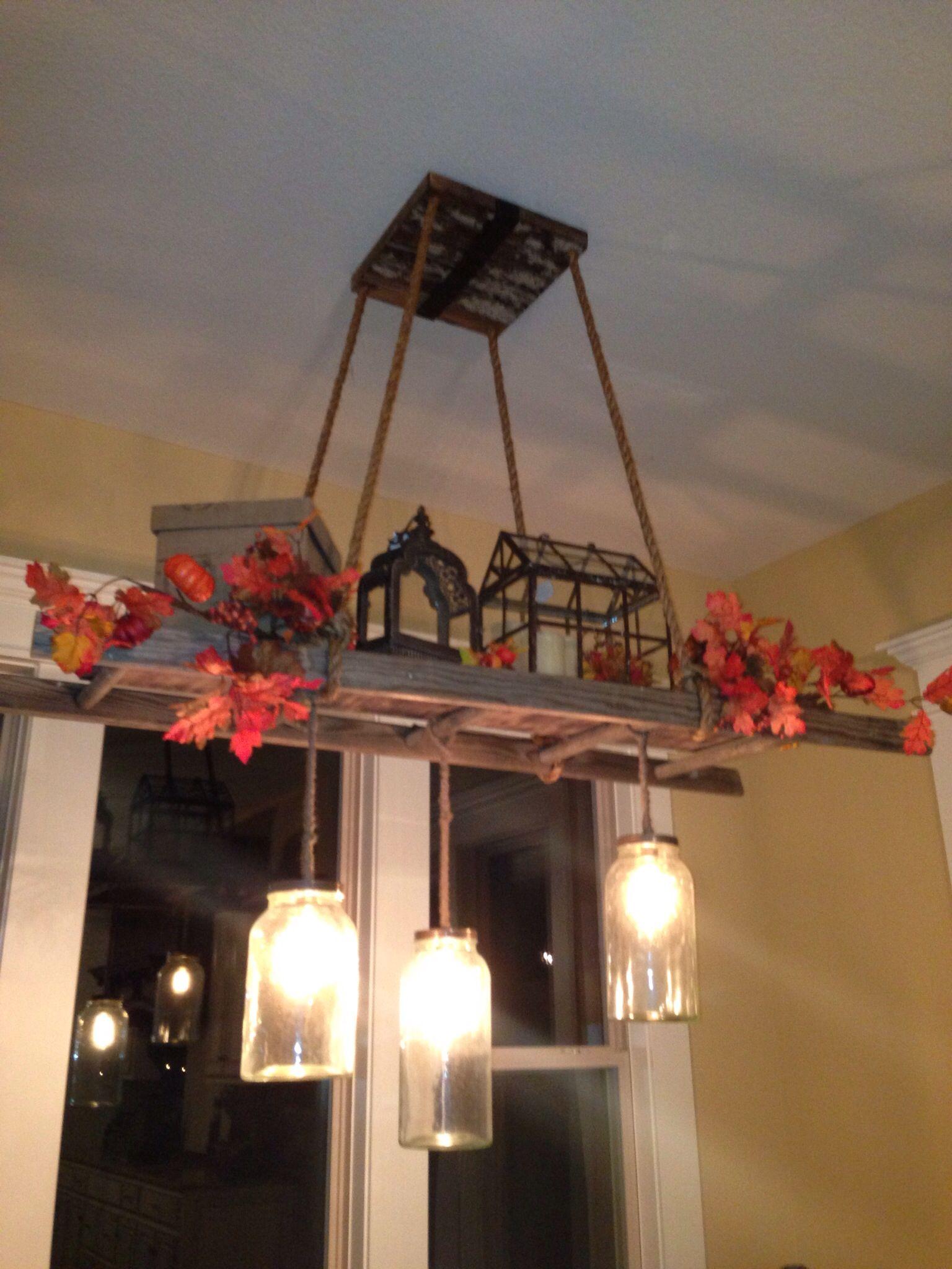 DIY Mason Jar Edison Bulb And Ladder Light Home In