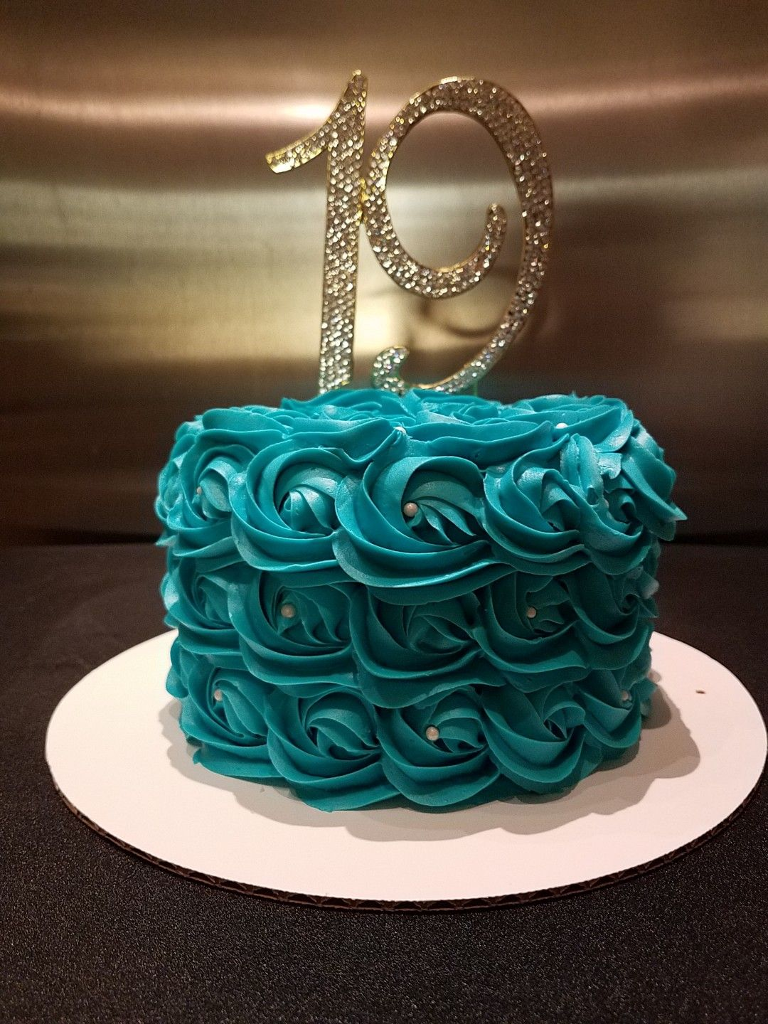 19th Birthday Cake Teal Rosettes Butter Cream Icing Girl