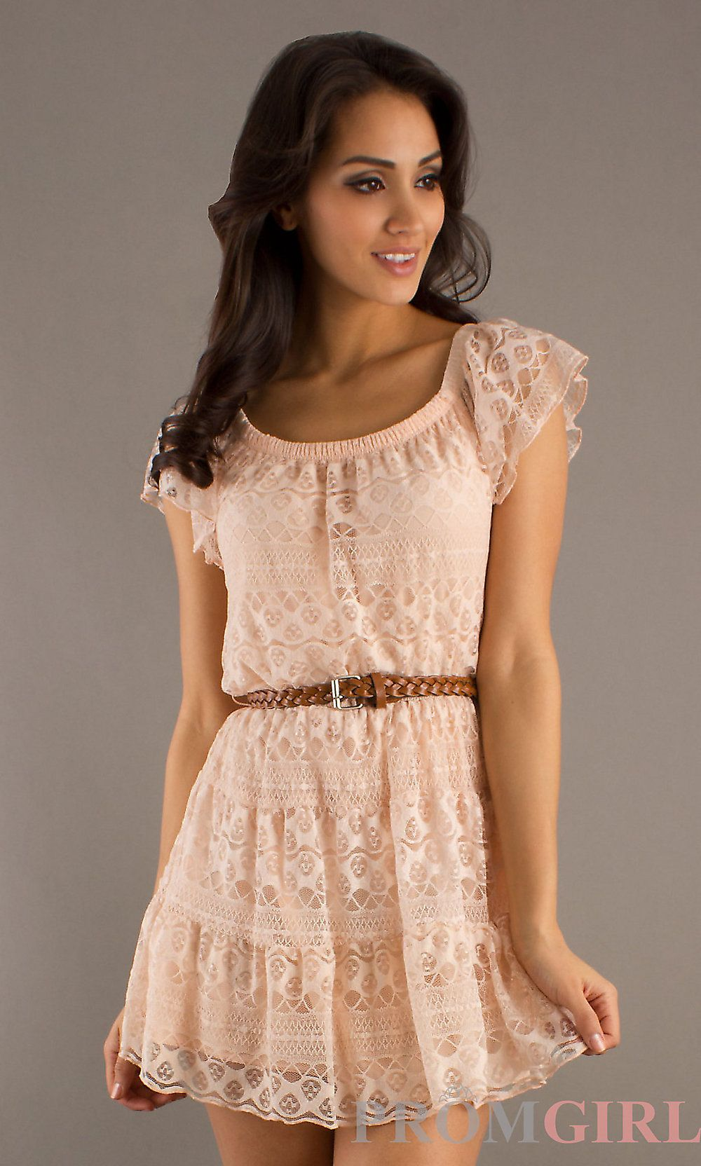 Pink short dress casual  Short Lace Dresses Casual Dresses Pink Short Dress PromGirl