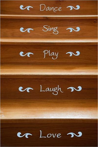 Happy Words Stair Riser Vinyl Decals 12 Stairs By Vinyltastic, $30.00