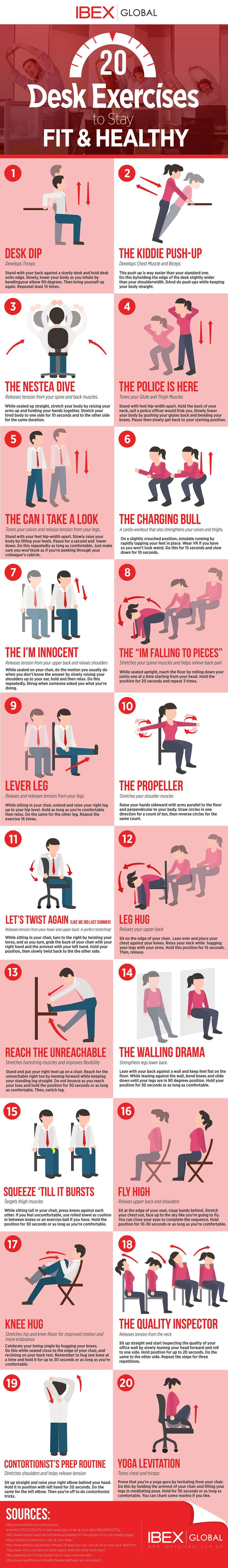 20 desk exercises to stay fit healthy desk workout