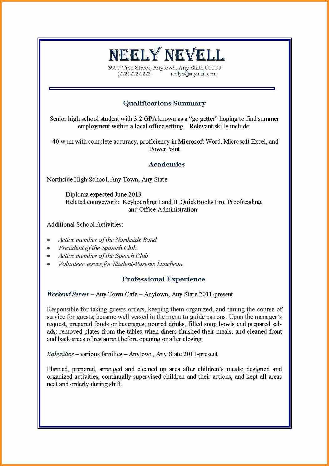 Job Resume Template Pdf Format Download Sample For High School