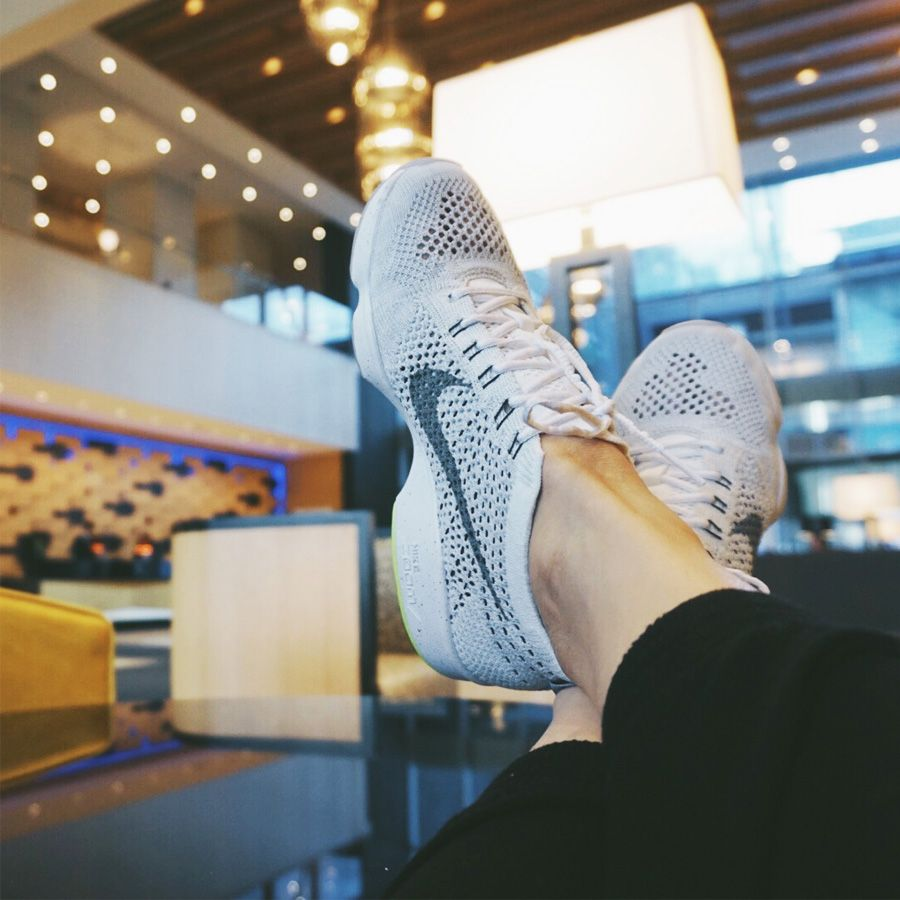 anna bediones atothebed in the nike flyknit zoom agility 3 (hotel lobby)