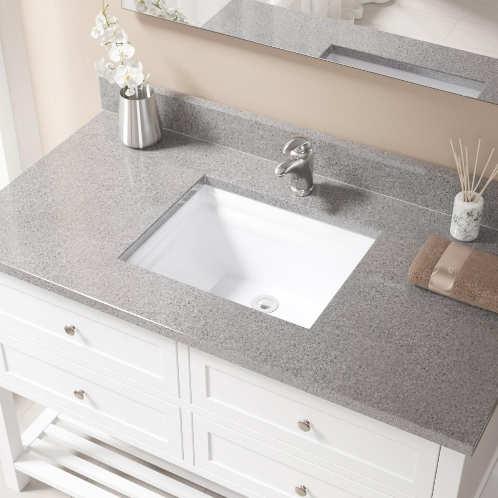 MR Direct Undermount Porcelain Bathroom Sink in White with Pop-Up ...