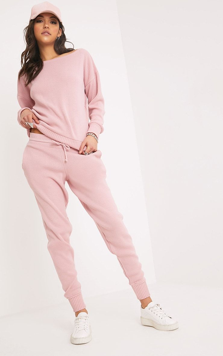Special Section Ladies Tracksuits Womens Fine Knit High Low Jogging Bottom Set Marl Loungewear Activewear