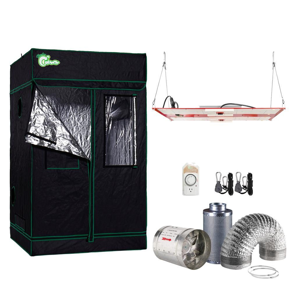 Hydro Crunch 1000 Watt Equivalent Full Spectrum Horticulture Grow Light Fixture With Grow Tent And Ventilation System Daylight Tkled Hlg 4848 Led Grow Lights Grow Tent Grow Lights