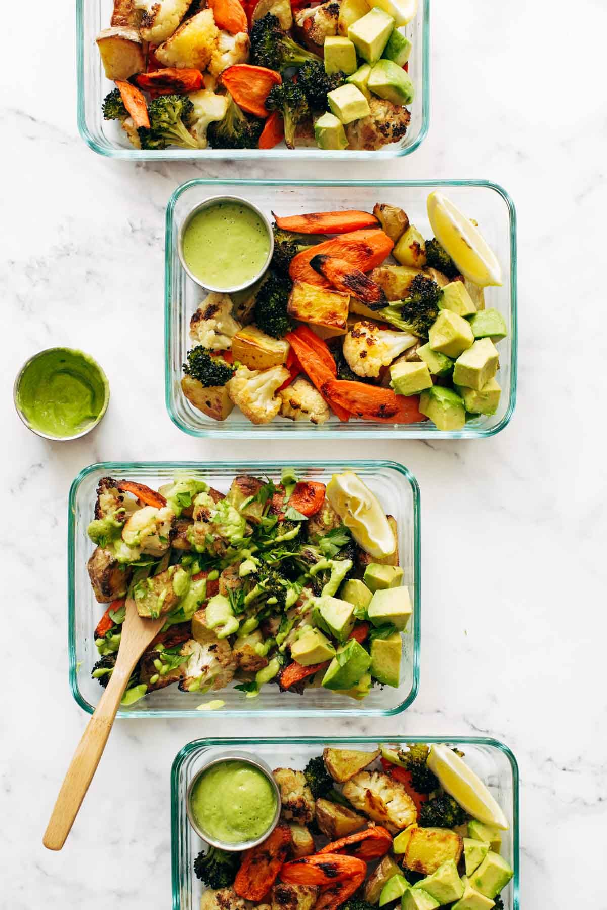 Roasted Vegetable Bowls With Green Tahini Pinch Of Yum Recipe Vegetarian Recipes Clean Eating Snacks Food