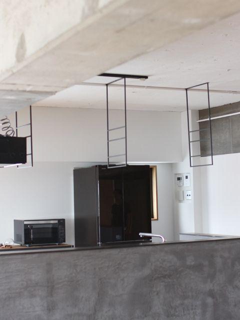 アイアン ハンギング 吊下げ 天井取付 棚 シェルフ ラック キッチン