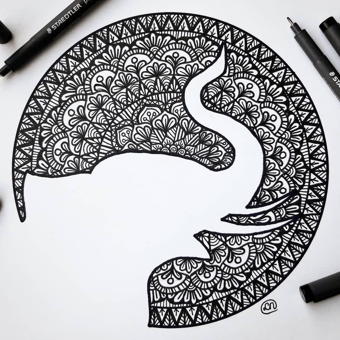 Elephant silhouette in a mandala 🐘 I made this mandala ...