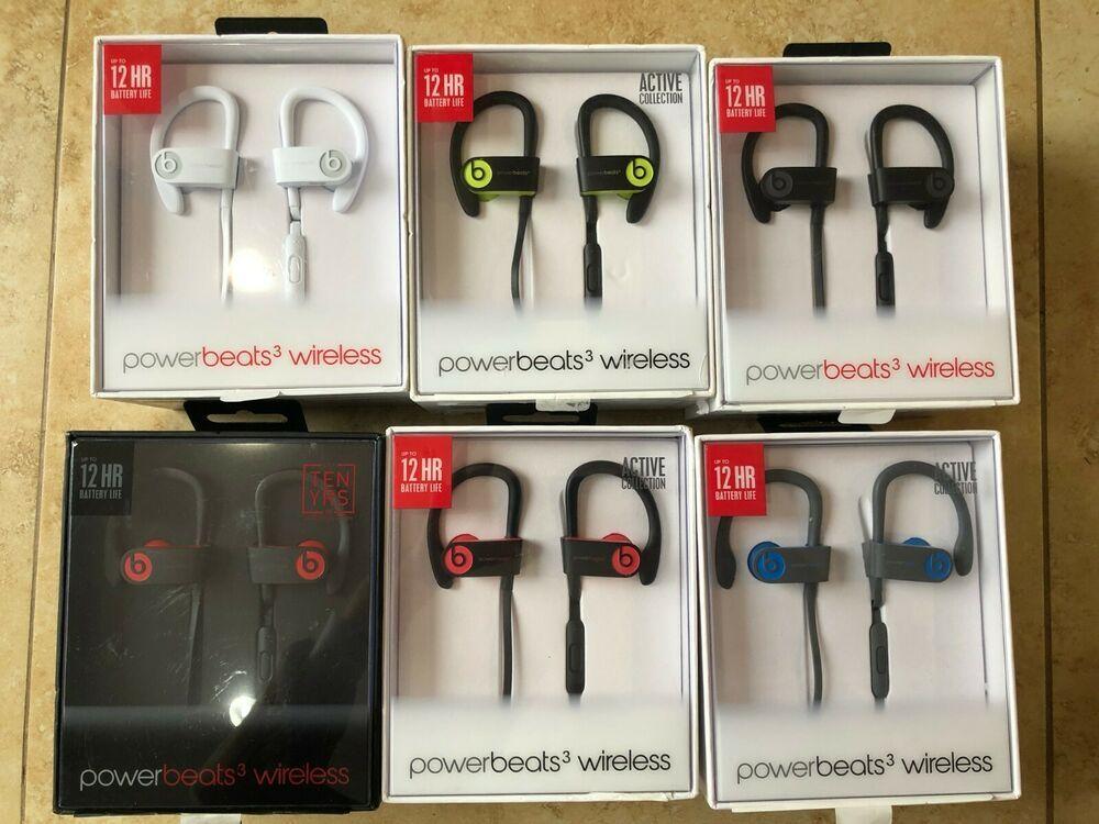 Authentic Beats By Dr Dre Powerbeats3 Wireless In Ear Headphones Black Blue Red Beatsbydrdre In 2020 Wireless In Ear Headphones In Ear Headphones Black Headphones