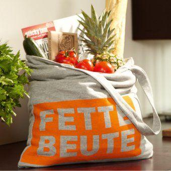 #design3000 Fette Beute – grauer Sweat-Shopper mit neonorangem Aufdruck Fette Beute.