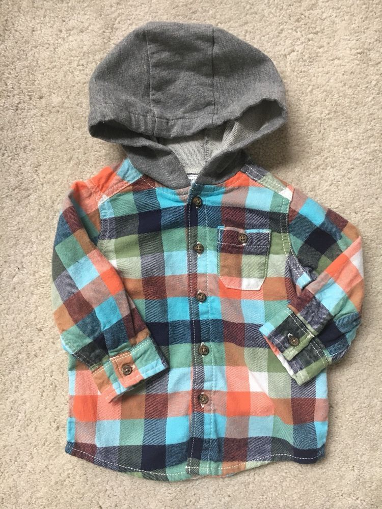 dc52919fb9dc Carters Baby Boy Hooded Long Sleeve Button Up Shirt Size 9 Months #fashion # clothing #shoes #accessories #babytoddlerclothing #boysclothingnewborn5t  (ebay ...