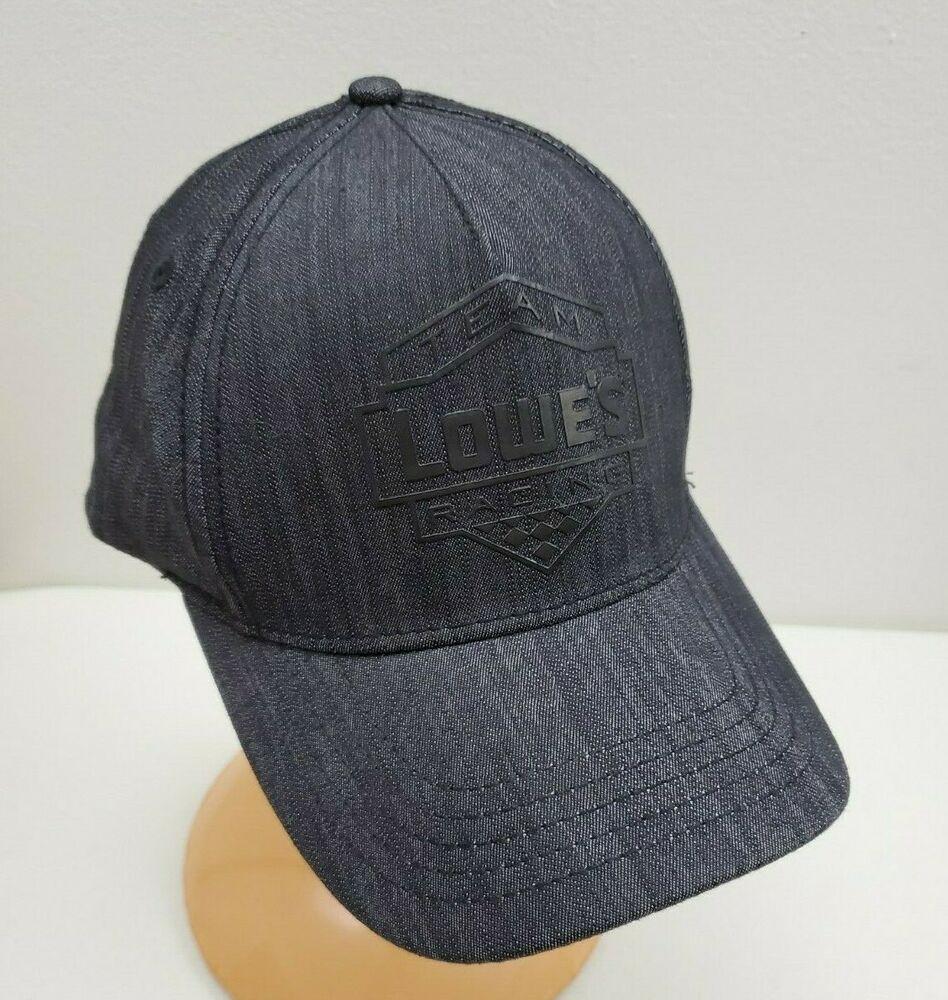 Lowes team racing hat cap dark gray denim and black logo