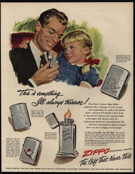 1949 Loving Daughter Gives Daddy A Zippo Lighter For Fathers Day Vintage Ad Father Daughter Gifts Father Day Ad Zippo