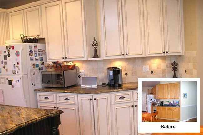Kitchen refacing before and after white kitchen cabinet for Refinishing kitchen cabinets before and after