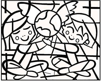 Romero Britto para colorir - Abraço