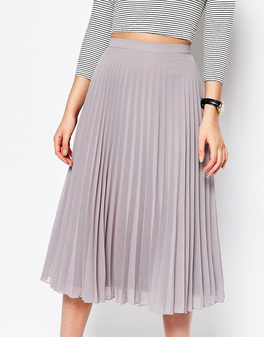 New Look Chiffon Pleated Midi Skirt