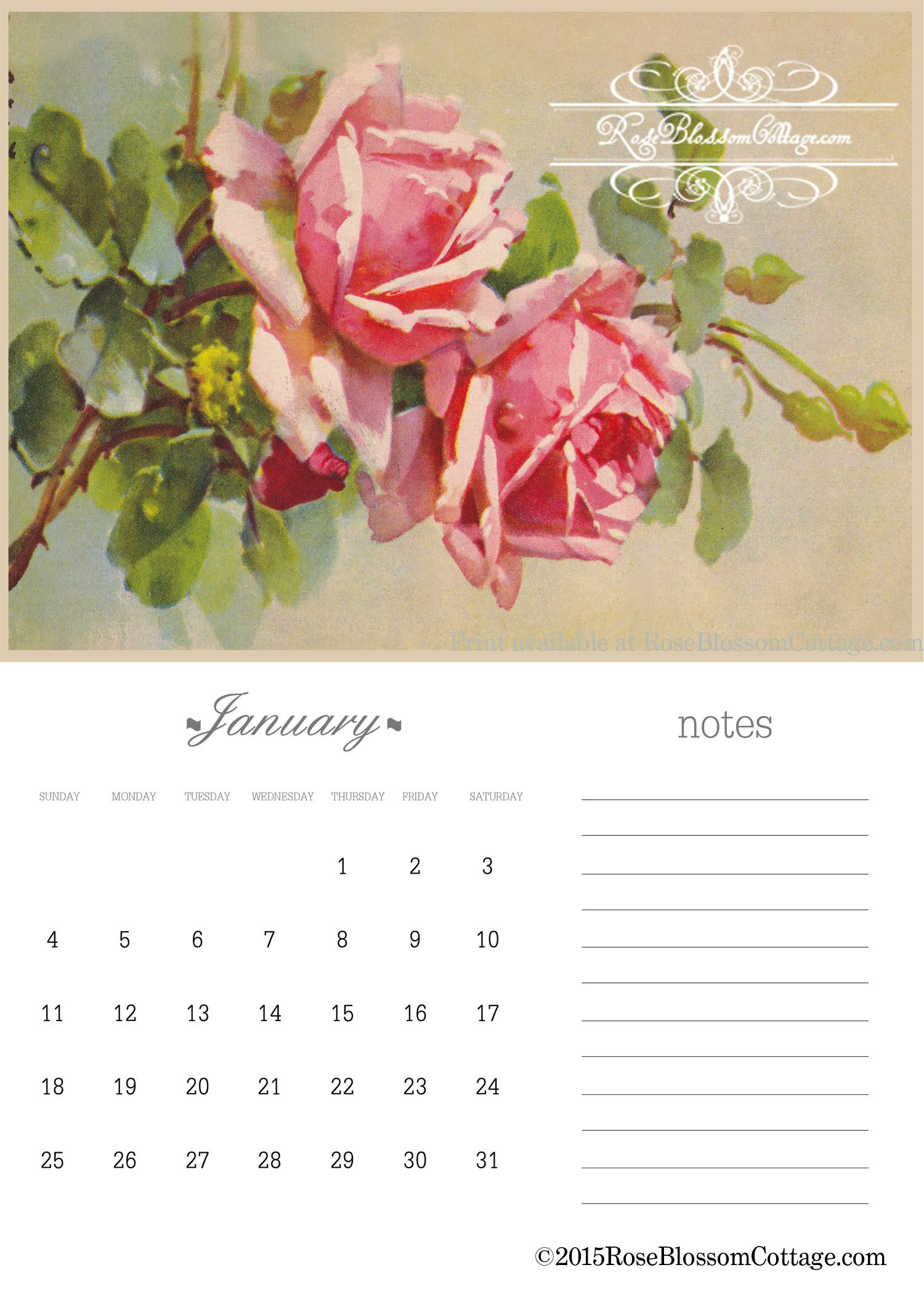 Free Downloadable January 2015 Roses calendar from http://www.RoseBlossomCottage.com