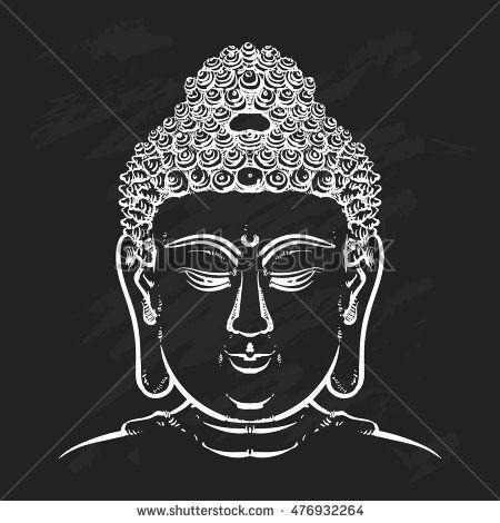 876fb14762b21 Buddha face isolated on a black background. Esoteric vintage vector  illustration. buddha head. Indian, Buddhism, Thai god.