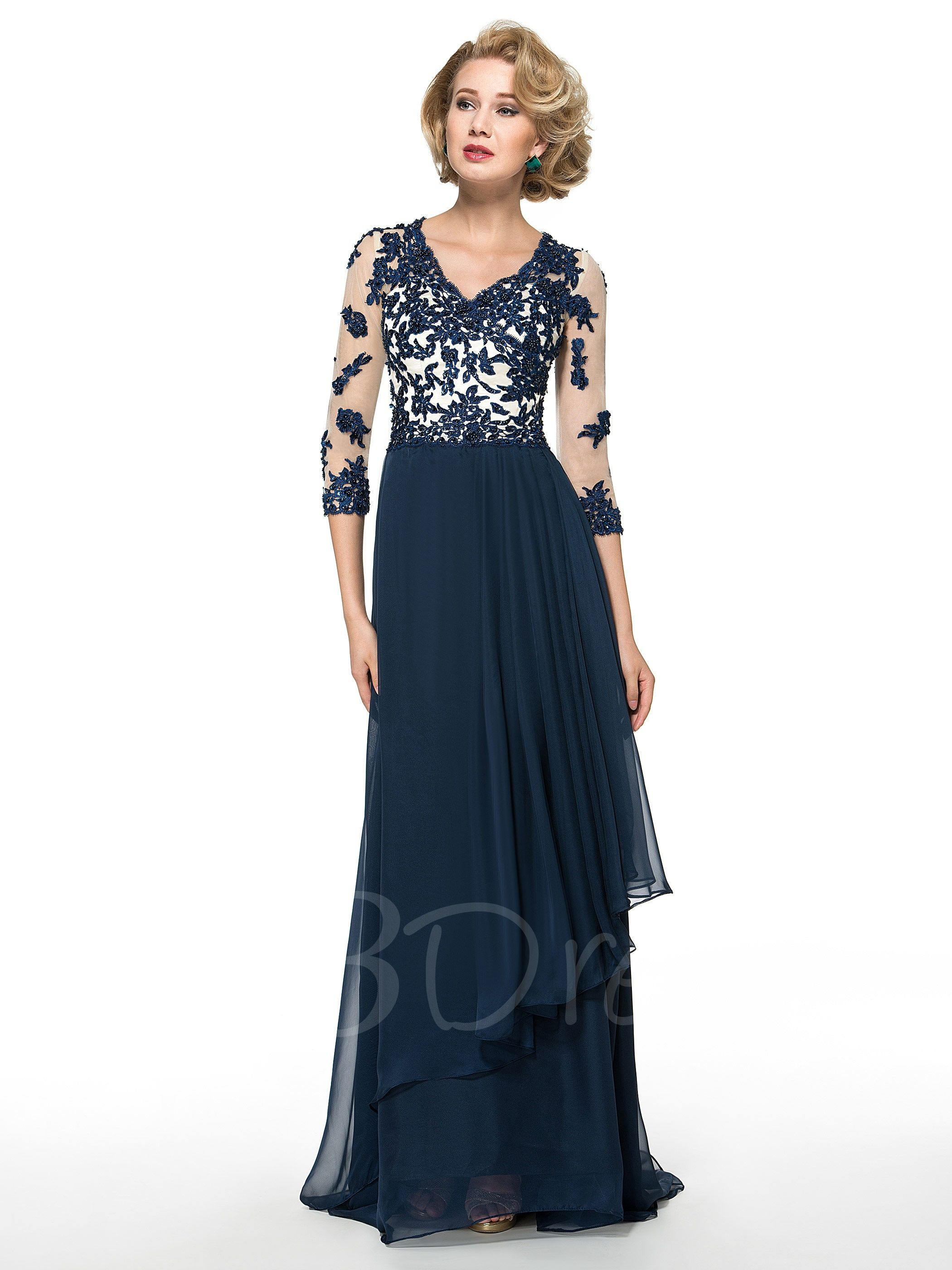 Beading Appliques Mother of the Bride Dress with Sleeves