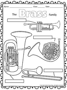 Instrument Family Coloring Sheets 12 Pages Bassoon Instruments