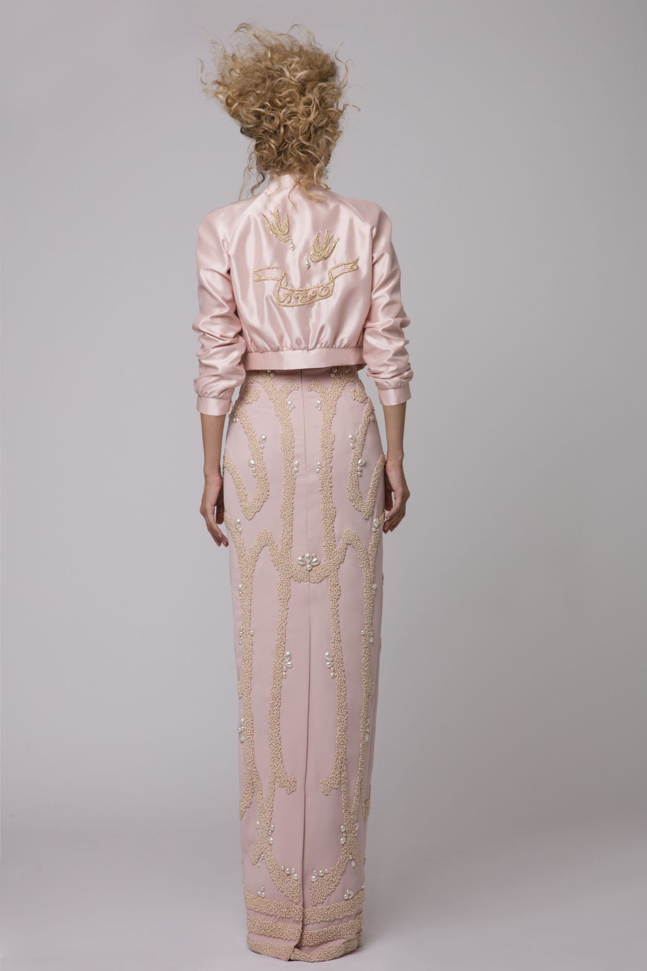 """Azzi & Osta Couture Fall/Winter 16/17   """"Promises Of Dawn""""    Pink, Bomber Jacket, Dress, Silk Duchess, Birds, Hand Embroidery, White Pearls, Metallic Gold Thread"""