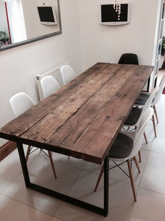 Photo of Reclaimed Industrial Chic 6-8 Seater Dining Table – Bar Cafe…