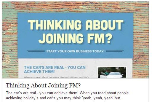 Are you thinking About Joining FM World? Are you sitting on the fence about it? Have a read my digital recruiting pack and message me for more info or if you have any questions  (all in confidence if working another Direct Sales biz)  Have a read of this - http://bit.ly/thinking-about-joining-FM  Join FREE here: www.joinsharon.co.uk