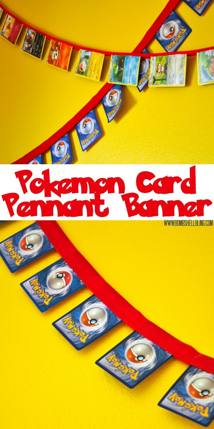 Pokemon pennant banner tutorial diy home decor pinterest