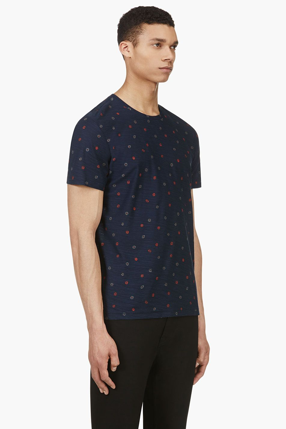 Rag Bone Navy Red Floral Polka Dot T Shirt Mens Shirts