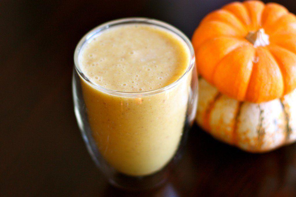 Pumpkin Banana Smoothie - almond milk, ice, banana, pumpkin puree, maple syrup, cinnamon, nutmeg, ginger