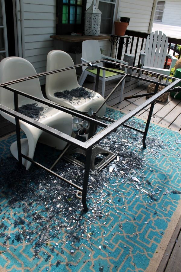 From A Crashed Glass Table To A Wood One Diy Patio Table Diy Outdoor Table Patio Table Top