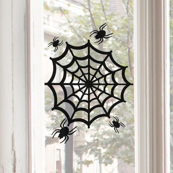 Reusable Spider Web Spiderweb Window Cling Window