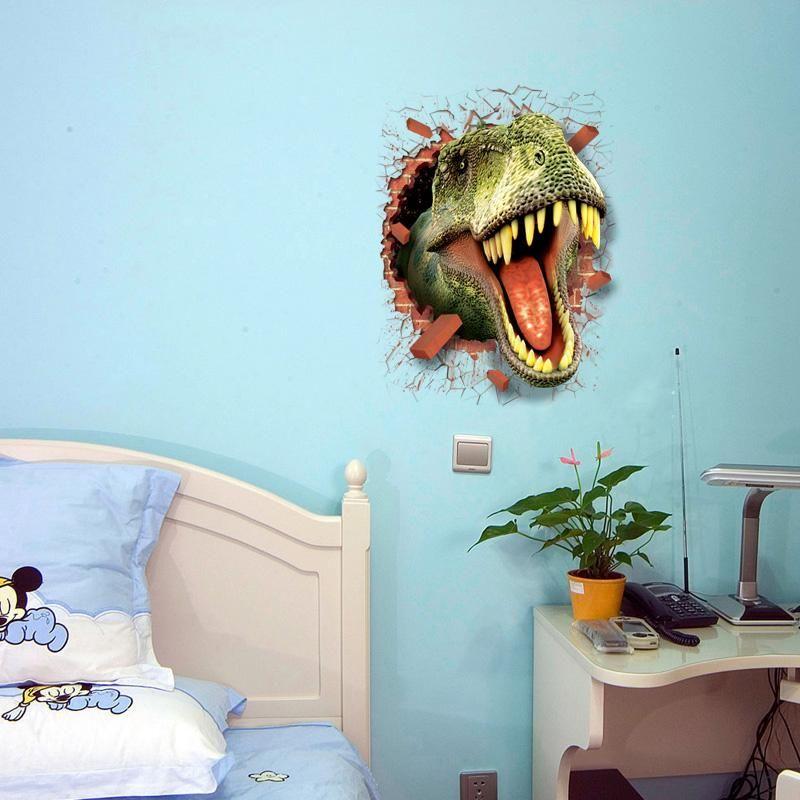 3D Dinosaur T-Rex Head Wall Art Sticker Kids Boys Bedroom Vinyl ...