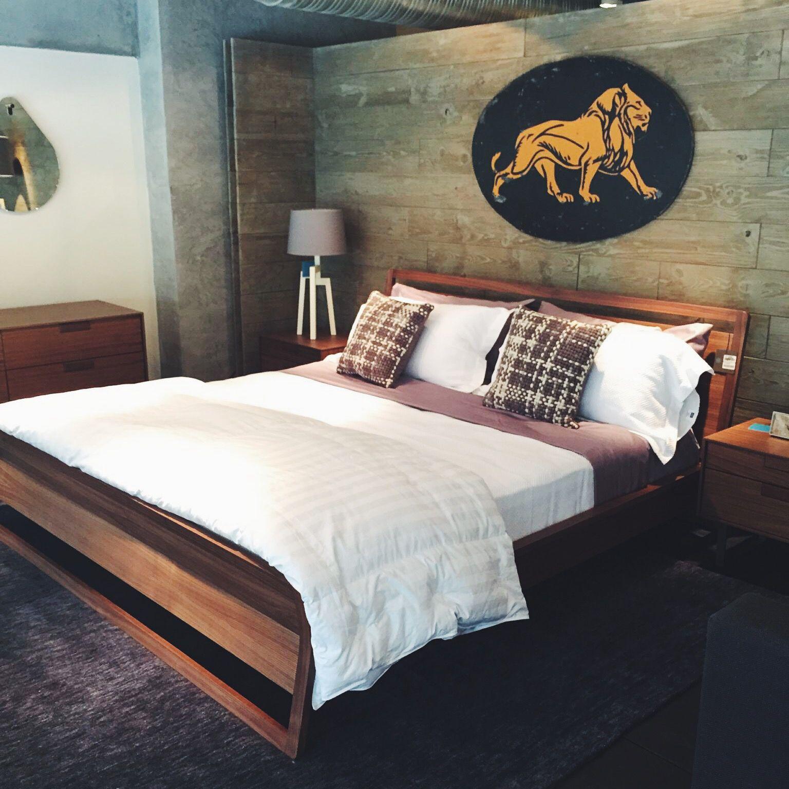 Morning wood blu dot woodrow bed bubbie pillow and stilt lamp modernbedroom modernfurniture modernbeds